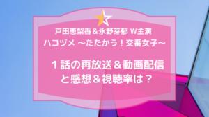 ハコヅメ~たたかう!交番女子~1話の再放送&動画配信と感想&視聴率は?