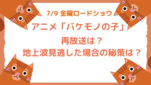 バケモノの子【アニメ】の再放送は?地上波見逃した場合の秘策は?