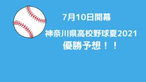 神奈川県高校野球夏2021優勝予想!!