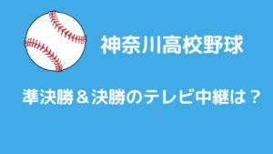 神奈川高校野球2021夏準決勝&決勝のテレビ中継は?
