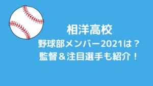 相洋高校野球部メンバー2021と出身中学(シニア)は?監督&注目選手も紹介!