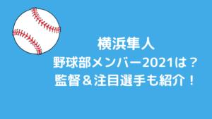横浜隼人野球部メンバー2021と出身中学シニアは?監督と注目選手も紹介!
