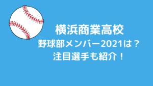 横浜商業高校野球部メンバー2021は?注目選手も紹介!
